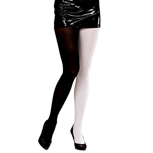 NET TOYS Blickdichte Strumpfhose Damenstrumpfhose schwarz-weiß Pantyhose Damenstrümpfe Nylon Damen Strümpfe Feinstrumpfhosen zweifarbig Strumpfhosen Damen