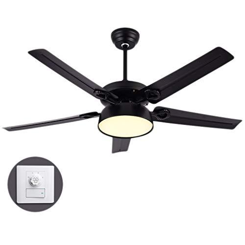 hsj WDX- Ventilador de techo de 130 cm para sala de estar, dormitorio, comedor, ventilador de techo de velocidad ajustable, luz regulable (color: A)