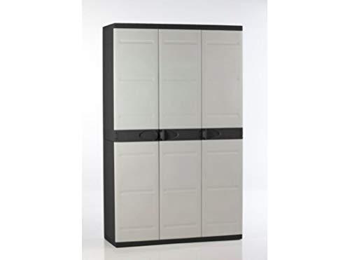 Titanium plastiken Armario Alta 3Puertas con étageres y penderie- L105xp44X H176cm-Beige y Noir-intérieur y Exterior