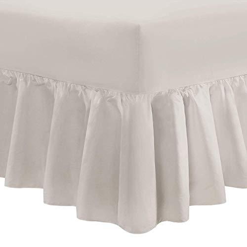 Nimsay Home Bettlaken in Hotelqualität, weich, einfarbig, 100 % ägyptische Baumwolle, Fadenzahl 200, gerüscht, Ägyptische Baumwolle, stone, Super King