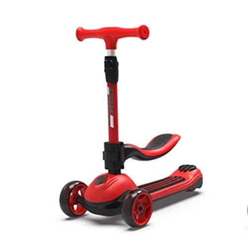 Scooters para Niños Siéntate y deslice dos en un scooter de altura ajustable scooters para niños de 2 a 12 años - Scooter plegable con asiento extraíble, llantas ligeras LED Antideslizante Scooter Pat