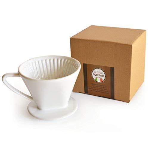 Caffé Italia Permanent-Kaffee-Filter - exzellenter aromareicher Kaffeegeschmack - Handfilter Kaffeefilter-Aufsatz Keramik - Größe 2 für 2-3 Tassen - weiß - Premium-Qualität