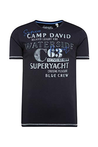 Camp David Herren Rundhalsshirt mit Label-Applikationen