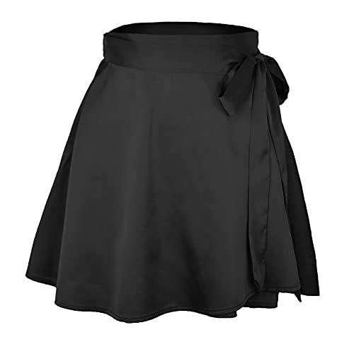 Pure Color Skirt, High Waist, Fashionable One-Piece Lace-Up Skirt, Chiffon Satin Wrap Skirt Black