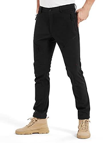 KUTOOK Pantalones Trekking Hombre Invierno Pantalones Soft Shell Hidrófuga Cálidos y A Prueba De Viento con Forro Polar para Senderismo Escalada Montaña(Negro,XL)