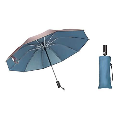 Ten bone effen kleur automatische omgekeerde tri-fold paraplu, oversized zilveren plastic paraplu voor bescherming tegen de zon en ultraviolette bescherming, dubbel gebruik op zonnige en regenachtige dagen, geschikt voor vrouwen