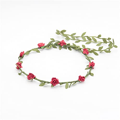 Wandskllss 23 piezas flor diadema Garland Bohemia floral corona para mujeres niñas accesorios para el pelo para boda Festival fiesta multicolor rojo 1 pieza