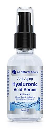Hyaluronsäure Serum | 60 ml Inhalt | Hochdosiert | Naturkosmetik fürs Gesicht | Mit Vitamin C, MSM, Grüner Tee Extrakt & Aloe Vera | Anti Aging | Kanadisches Erfolgsprodukt