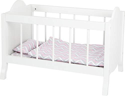 Small Foot 11778 Puppengitterbett, weiß, mit weicher Matratze, Bettdecke, Kissen und Bettwäsche, ab DREI Jahren Toys