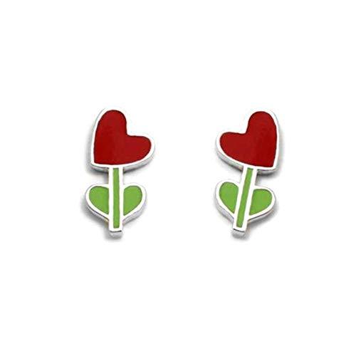 Pendientes plata Ley 925m Agatha Ruiz de la prada 11mm. colección Green corazón esmaltado [AC1562]