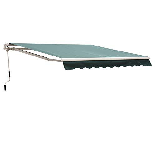 Outsunny Tenda da Sole Avvolgibile Manuale Esterno Tessuto di Poliestere 2.5 × 2m Verde