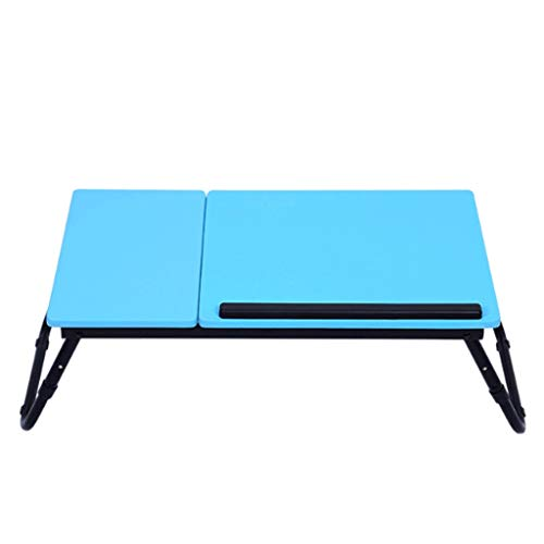 1Pc Verstelbare Folding Computer Desk Rack Bed Lap Bureau Draagbare multifunctionele Book Reading Tray Stand (Color : Blue)