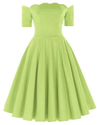 PAUL JONES 1950s Women Off Shoulder Knee-Length Ruffle Dress Size M Lawngreen