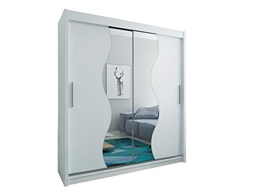 Kryspol Schwebetürenschrank Madryt 180 cm mit Spiegel Kleiderschrank mit Kleiderstange und...