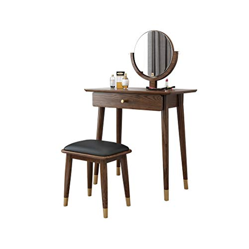 Lowest Price! HIZLJJ Vanity Table Set with Mirror and Cushioned Stool, Dressing Table Vanity Makeup ...