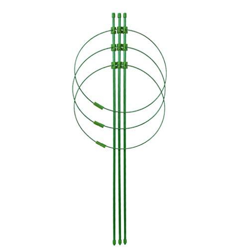 Bluestercool Lot de Support pour Plantes Bague réglable Garden Treillis Cage Support pour Plantes avec 3 Anneaux pour Plantes grimpantes en Pot Vegtables Flowers, Acier, Green, 45 cm