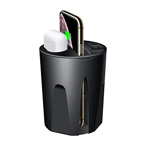 Piushopping Caricabatteria per Auto Wireless Caricatore Portabicchiere Cuffie Bluetooth (Air pods) per Samsung Huawei iOS Android