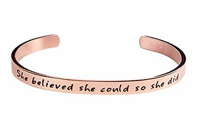 Kendasun Jewelry She believe she could so she did Inspirational Bracelet Cuff Bangle