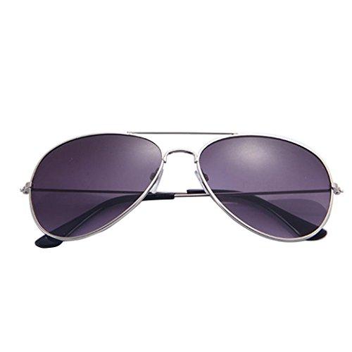 Gusspower Aviador de Metal Clásico Marco del Espejo Lente Gafas de Sol (Plata-Gris)