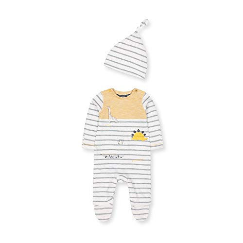 Mothercare NB Ad Stripe Aio And Hat Cappellopello, Nero (Mustard 74), Tiny Baby (Manufacturer Size:50) Unisex-Bimbi