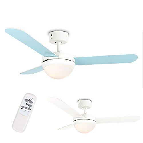 MiniSun - Moderno Ventilador de Techo con Luz LED - Silencioso con Mando a Distancia - 3 Aspas Reversibles en Blanco y Azul Claro - 106cm Diámetro/ 3 Velocidades - Motor DC