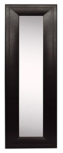 """Rayne Mirrors American Made Home Decorative Accent Espresso Leather Wall Mirror Panel Set of 4 - 11.75""""W x 39.75""""H"""