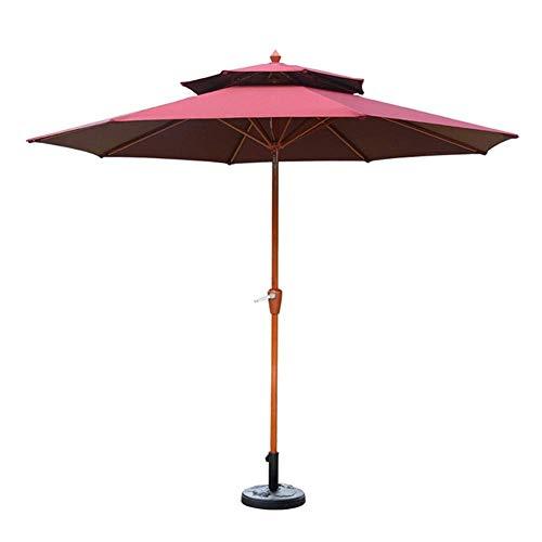 Upgrade Parasols 9 Fuß (2,7 m) Patio Gartenschirm - Outdoor Sun Shade Cafe Store Hochzeitsfeier Strand Sonnencreme (Farbe: Khaki) (Farbe: Weinrot)