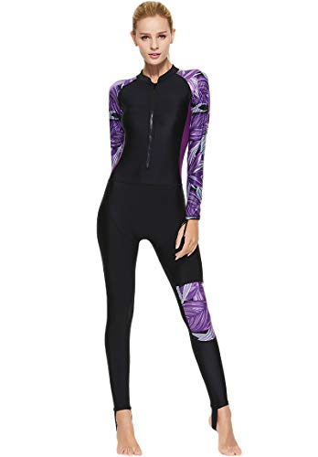 Akaeys Women's Full Body Swimsuit Rash Guard One Piece Long Sleeve Long Leg Swimwear with UV Sun Protection, Purple-leaves, XLarge(FOR weight 130-150lbs)