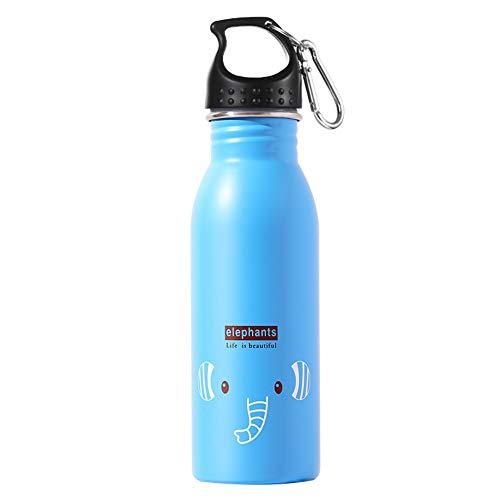 LG&S Bouteille d'eau pour Enfants, Bouteille de Boisson Scolaire 500ml en Acier Inoxydable, Motif Animal,Blue2