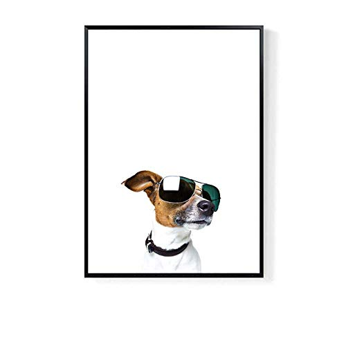 Lcsd mural Dormitorio Sala De Estar Decoración Pintura Gafas Perro Nórdico Creativo Dormitorio Porche Marco Simple Pintura Mural De Dibujos Animados HD Micro-spray Sofá Fondo Pared Pintura 40 * 60cm (
