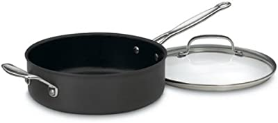Cuisinart 633-24H Chef's Classic Nonstick Hard-Anodized 3-1/2-Quart Saute Pan with Helper Handle and Lid , Black