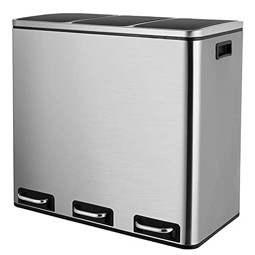 Cubo de Basura con 3 Contenedores para Clasificación de Residuos Basurero Reciclaje para Cocina Tapa Cierre Suave con Pedal de Acero Inoxidable 54L(18Lx3)