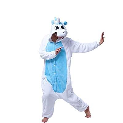 DEBAIJIA Pijama Animal Unicornio para Niños Niñas Disfrace Cosplay Franela Traje del Anime Invierno Calentito Pyjamas Navidad Onsie Azul-85