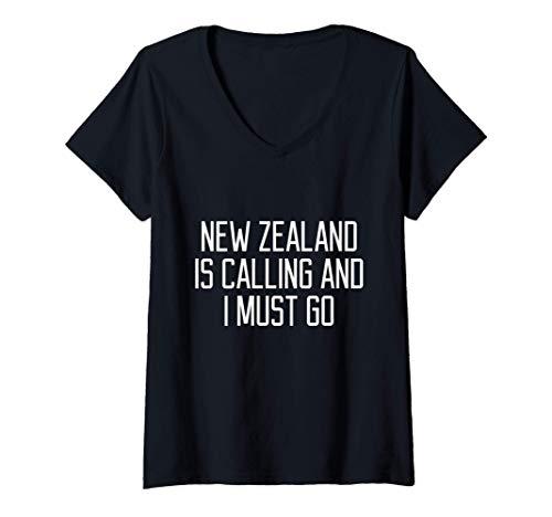 Mujer Cita divertida de Nueva Zelanda Camiseta Cuello V