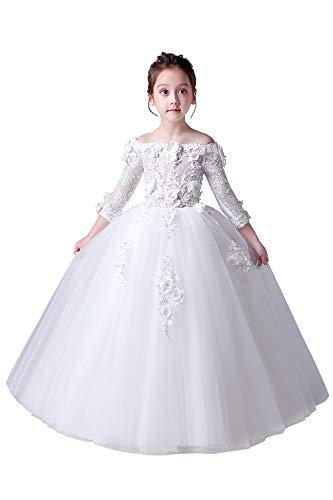 Misshow Mädchen Prinzessin Kinder Mädchen Festlich Kleid Blumenmädchen Hochzeit Perlstickerei 3 Farbe