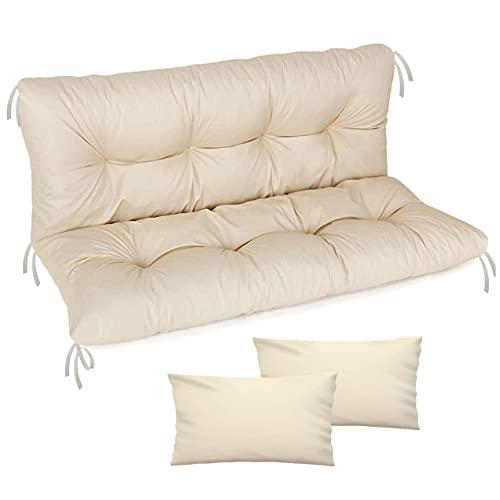 Cuscino per panca da giardino, impermeabile, 100x50x50 cm, per mobili da giardino, per pallet, per esterni e patio, con schienale, Beige [133]