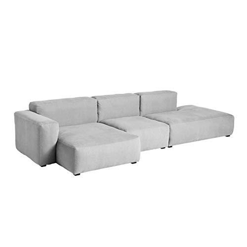 HAY Mags Soft 3-Sitzer Sofa Armlehne niedrig, hellgrau Naht dunkelgrau Stoff Linara 443 Armlehne Links Füße Kiefernholz schwarz gebeizt mit Filzgleitern