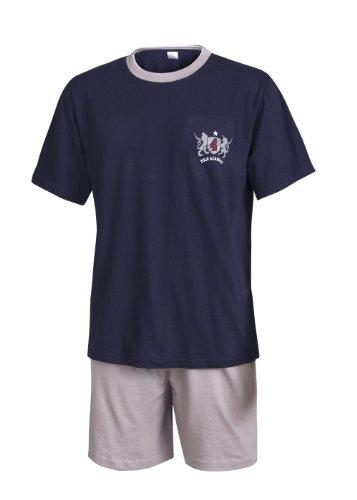 Schlafanzug Herren kurz Herren Pyjama kurz Herren Shorty Schlafanzug aus 100{9c53e70c5a9c6298ca421fd024d1adaecc5a861c557bb78fe3575474afd01368} Baumwolle (XXXL/62-64, Oberteil Marine mit Motivdruck/Hose grau)