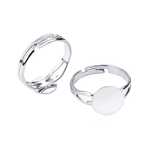 Base de cabujón 10/20pcs Ajuste de anillo en blanco ajustable Fit 8/10 / 12mm Cabochons de vidrio Bandeja de configuración de camafeo BRICOLAJE Producir joyería ( Color : Silver , Size : 20pcs-12mm )