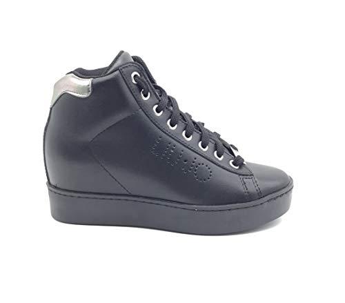 Liu-Jo Scarpa Sneaker Donna con Zeppa Interna Pelle Nero Art. S66031 P0015 40 Nero - Black