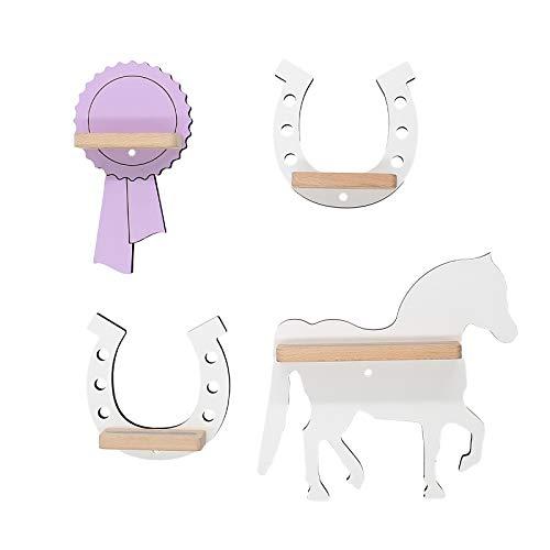 BOARTI Kinder Regal Pferde Sammelset mit Pferd, Fohlen, Schleife und 2 Hufeisen geeignet für die Toniebox und ca. 20 Tonies - zum Spielen und Sammeln