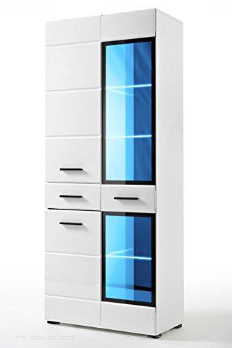 Dusine.fr - Armoire Vitrine Helio 75 cm pour Salon Neuf laqué LED Design
