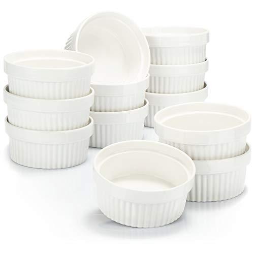 COM-FOUR® 12x Soufflé Förmchen - Creme Brulee Schälchen aus Keramik - Ofenfeste Förmchen - Dessertschale und Pastetenförmchen für z.B. Ragout Fin - je 270 ml - in weiß