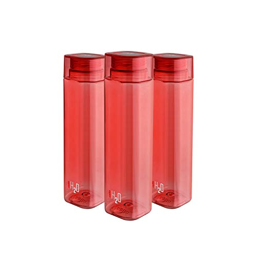 Cello H2O Squaremate Plastic Water Bottle, 1-Liter, Set of 3, Red