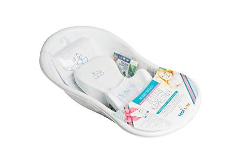 Tega Baby ® SET 5-teilig Badewanne Badesitz für Baby, ab 0 Monate mit eingebautem Thermometer - Anti-rutsch, GESCHENK für Neugeborene (allein, Häschen - weiß)