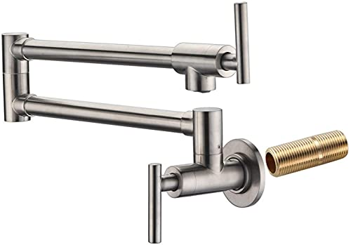 SUMERAIN Pot Filler Faucet Wall Mount,Brushed Nickel Finish and Dual Swing Joints Design