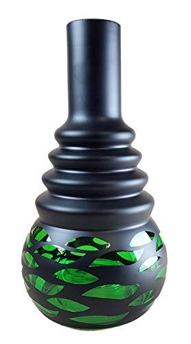 Ersatzglas für Shisha | Bowl ohne Gewinde | Farbe - Grün | Ersatzbowl für Wasserpfeife | Höhe - 30cm | Shisha Vase mit LED Aussparung für Diverse Wasserpfeifen | Zubehör für Nargileh