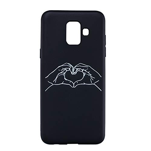 Shinyzone Silicone Noir Coque pour Samsung Galaxy A6 2018,Ultra Fine Mince Mat TPU Pare-Chocs Housse Etui [Antidérapant] avec [Minimaliste] Drôle Motif Personnalisé-Coeur d'amour