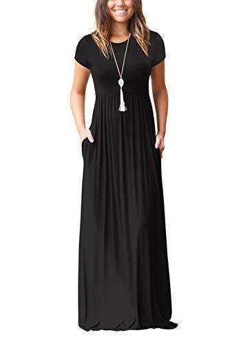 Damen Sommerkleider Kurzarm Lose Blumen Maxikleider Casual Lange Kleider mit Taschen, Schwarz-2, XL