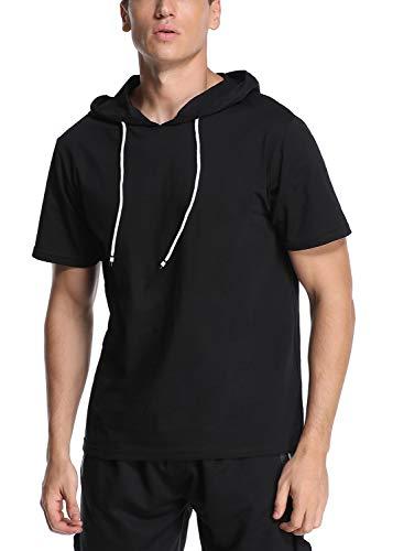 Camiseta de manga corta para hombre con capucha, sudaderas deportivas, Hoodie T Shirt Negro L